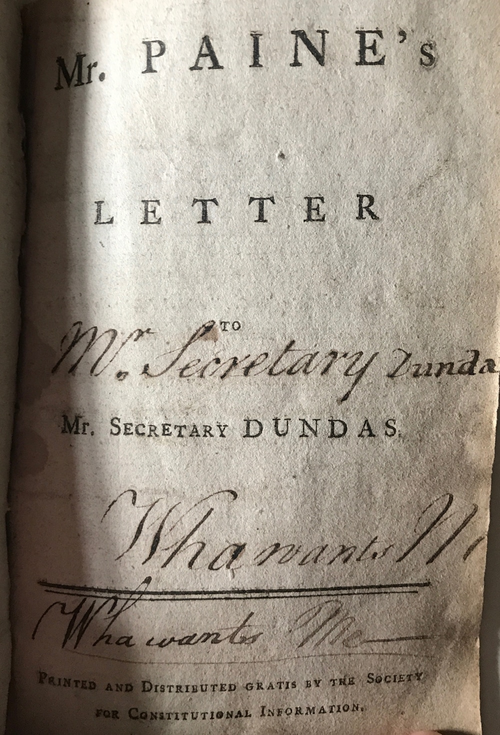 Mr Paine's letter to Mr. Secretary Dundas- by Thomas Paine, 1792